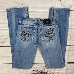 Miss Me Distressed Bling Pocket Boot Cut Jeans